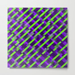 geometric pixel square pattern abstract background in purple green Metal Print