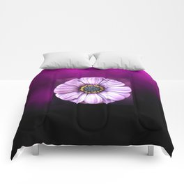 Centred White Flower on Purple Background Comforters