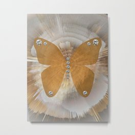Golden Butterfly with Diamonds Metal Print
