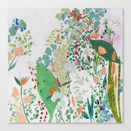 Painterly Floral Jungle on Pink and White Canvas Print