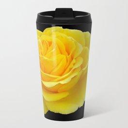 Beautiful Yellow Rose Flower on Black Background Travel Mug