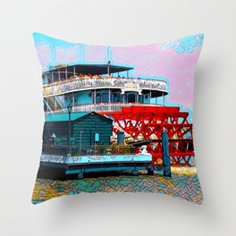 Natchez Riverboat New Orleans Throw Pillow