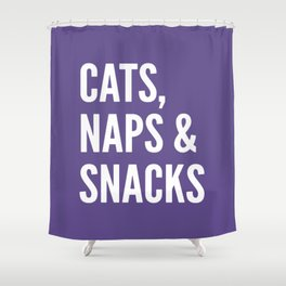 Cats, Naps & Snacks (Ultra Violet) Shower Curtain