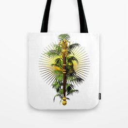 growing power, royal scepter with palm tree in front of aureole Tote Bag