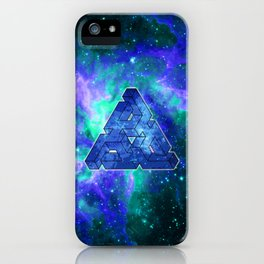 Triangle Blue Space With Nebula iPhone Case