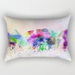 Athens skyline in watercolor background Rectangular Pillow
