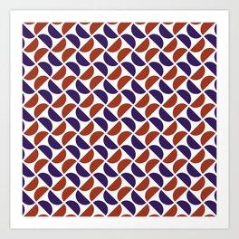 HALF-CIRCLES, RED AND BLUE Art Print