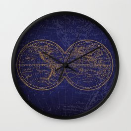 Antique Navigation World Map in Blue and Gold Wall Clock