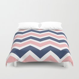 Zig Zag Chevron Pink and blue waves pattern Duvet Cover