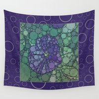 potato Wall Tapestries featuring Percolated Purple Potato Flower Reboot  by Charma Rose