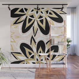 Modern black gold pink abstract floral pattern Wall Mural