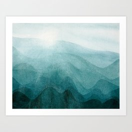 Sunrise in the mountains, dawn, teal, abstract watercolor Kunstdrucke