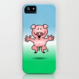 Cheerful little pig iPhone Case