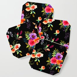 Bright Watercolor Flowers on Black | Neon Floral | Renee Davis Coaster