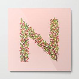 Leafy Letter N Metal Print