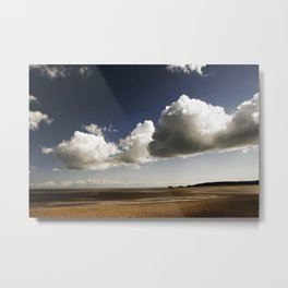 Blue sky and clouds over Swansea Bay Metal Print