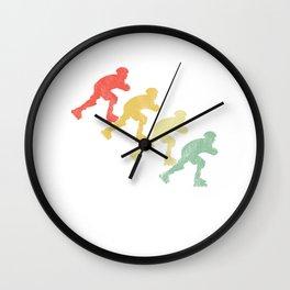 Skater Vintage Retro Inline Skating Rollerblading Gift Wall Clock