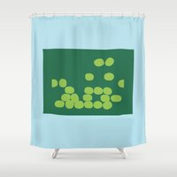 kiwi Shower Curtains featuring Kiwi by Mungo