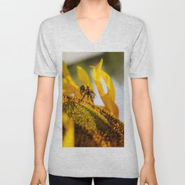 Bumble bee in the sunflower Unisex V-Neck