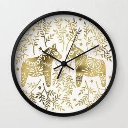 Swedish Dala Horses – Gold Palette Wall Clock
