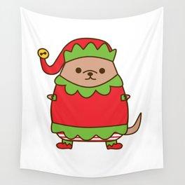Cute Christmas Elf Pupsheen Wall Tapestry