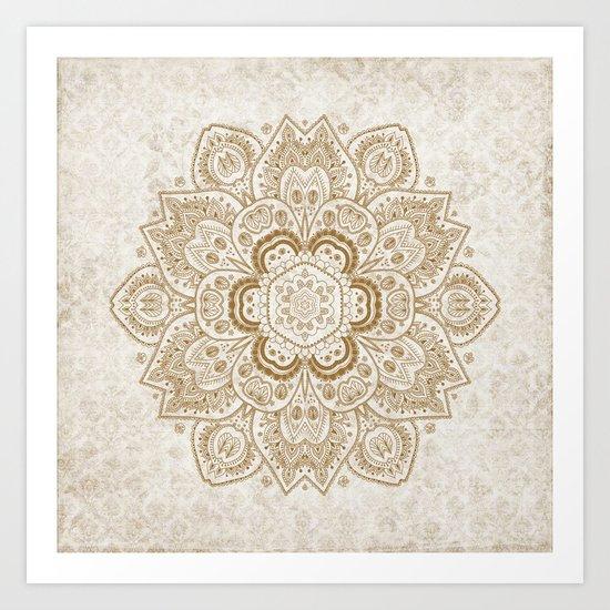 Mandala Temptation in Cream Art Print