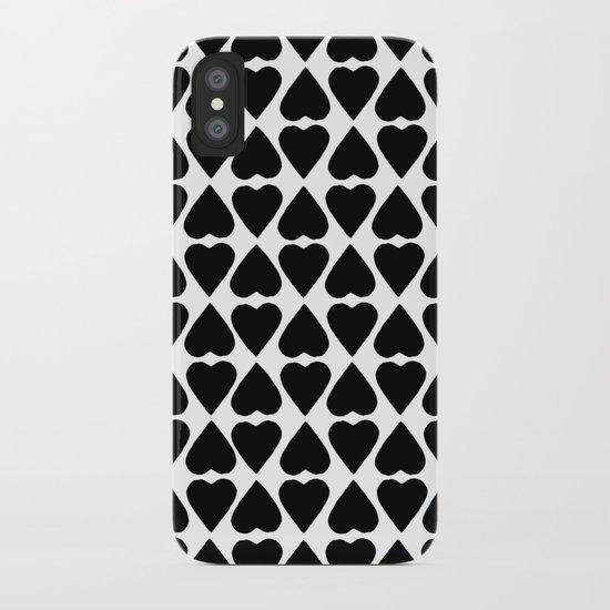 Diamond Hearts Repeat Black iPhone Case