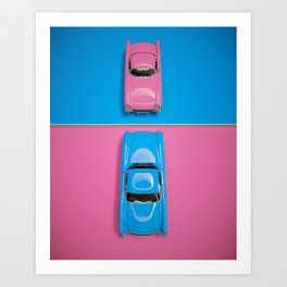 Cars Story View - Pink on Blue & Reverse Art Print
