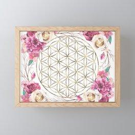 Flower of Life Rose Garden Gold Framed Mini Art Print