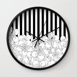 Cherry Blossom Stripes - In Memory of Mackenzie Wall Clock