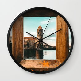 Picture Perfect | Teal and Orange Collioure France Medieval Church Tower Scenic View Marina Wall Clock