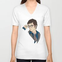 dr who V-neck T-shirts featuring Dr Who David Tennant by Hungry Designs