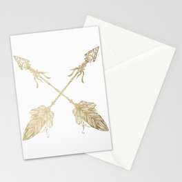 Tribal Arrows Gold on White Stationery Cards