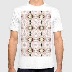 Pink flower pattern MEDIUM White Mens Fitted Tee