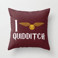 quidditch Throw Pillows featuring I love Quidditch by Danielle Podeszek