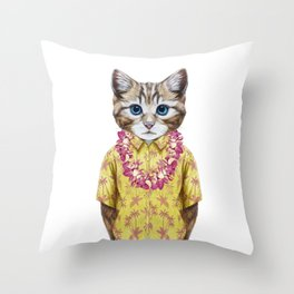 Portrait of Cat in summer shirt with Hawaiian Lei. Throw Pillow