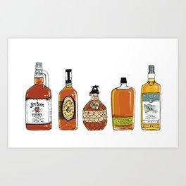 5 Whiskeys Art Print
