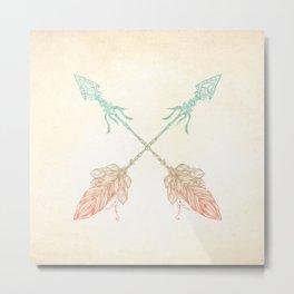 Tribal Arrows Turquoise Coral Gradient Metal Print