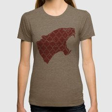 PANTHER SILHOUETTE HEAD WITH PATTERN Womens Fitted Tee Tri-Coffee X-LARGE