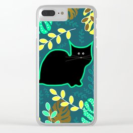 Curious cat and monstera leaves Clear iPhone Case