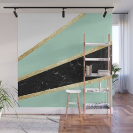 Mint, White, Black Marble and Gold Stripes Glam #1 #minimal #decor #art #society6 Wall Mural