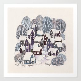 Snowy Village Art Print