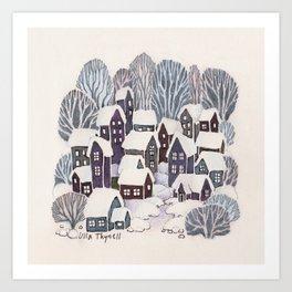 Snowy Village Art Print