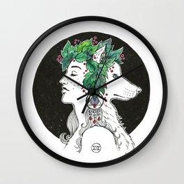 Wolves' moon Wall Clock