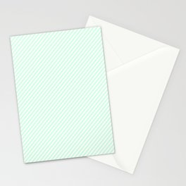 Mini Pale Summer Mint Green Pastel and White Candy Cane Stripes Stationery Cards