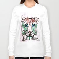 snow leopard Long Sleeve T-shirts featuring Snow leopard by Caballos of Colour