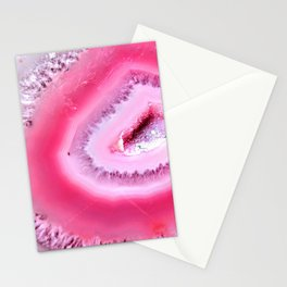 Hot Pink Geode Crystal Stationery Cards