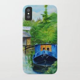 A narrow boat stops after passing through Coxes Lock near Addlestone in Surrey.  iPhone Case