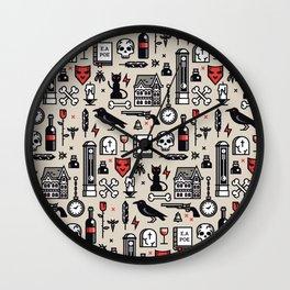 Edgar Poe Pattern Wall Clock