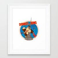 donkey kong Framed Art Prints featuring Donkey King Kong by Vickn